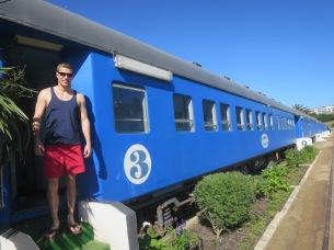 Rich boarding the Santos Express