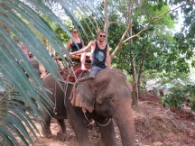 Rich rode on the elephant all the way back to base