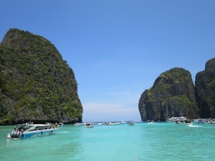 Stunning view out towards the sea from Maya beach