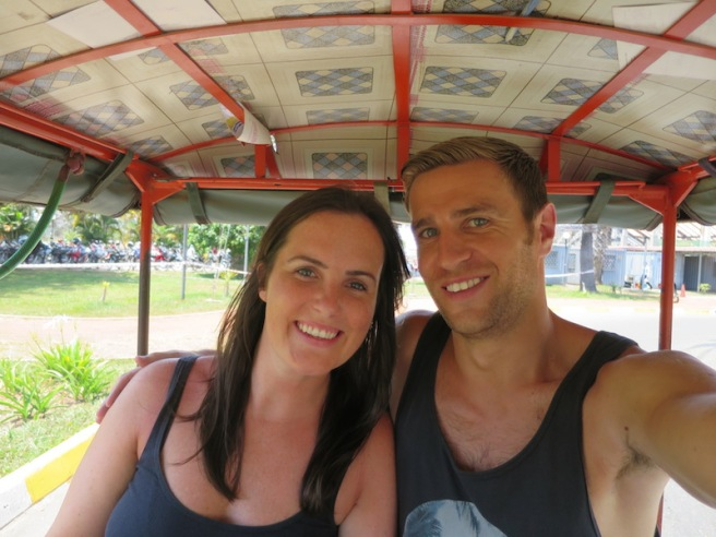 Rich and Sonia in the tuk tuk from the airport